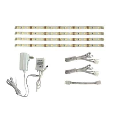 12 in. Linkable RGBW Indoor LED Flexible Tape Light Kit (4-Strip Pack)