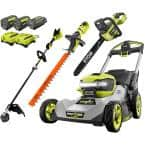40V HP Brushless 21 in. Battery Walk Behind Dual-Blade Self-Propelled Mower/Trimmer/Chainsaw/Hedge with 3 Batteries