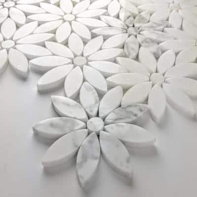 Tuscany Calacatta White Flower Deco Mosaic 4 in. x 4 in. Marble Decorative Wall Tile (10 Sq. ft./Case)