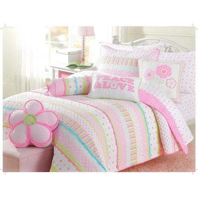 Peace and Love Flower Dot Stripe Ruffled 6-Piece Pink Blue Green White Cotton Full/Queen Quilt Bedding Set Decor Pillows