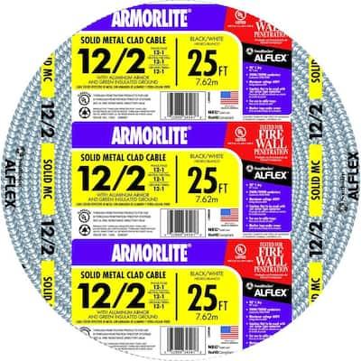 12/2 x 25 ft. Solid CU MC (Metal Clad) Armorlite Cable