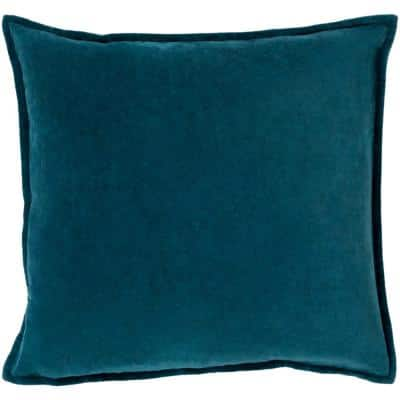 Velizh Teal Solid Polyester 18 in. x 18 in. Throw Pillow