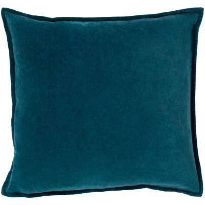Velizh Teal Solid Polyester 20 in. x 20 in. Throw Pillow