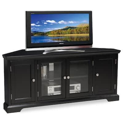 """Black Hardwood, 56""""W Corner TV Stand"""