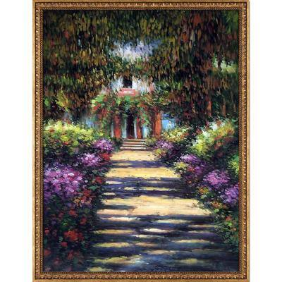 """""""Garden Path at Giverny with Versailles Gold"""" by Claude Monet Framed Abstract Wall Art Oil Painting 39.5 in. x 51.5 in."""