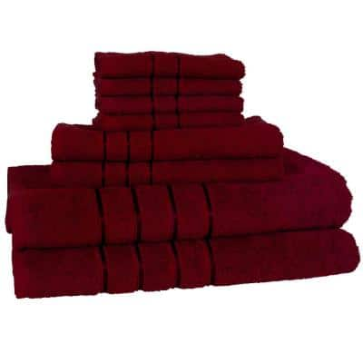 8-Piece Burgundy 100% Cotton Plush Bath Towel Set