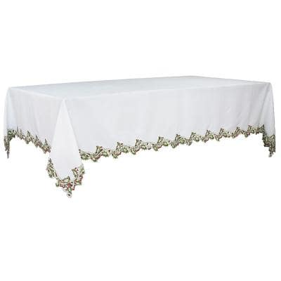108 in. x 70 in. Holiday Holly Embroidered Cutwork Tablecloth in White