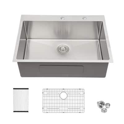 16-Gauge Stainless Steel 28 in. Single Bowl Drop-In Topmount Kitchen Sink