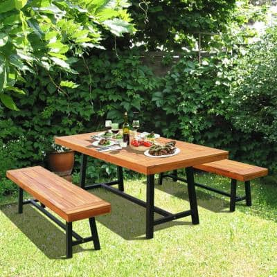 Rustic Acacia Wood Outdoor 71 in. Picnic Table and 63 in. Bench Seat Set in Natural Red Wood