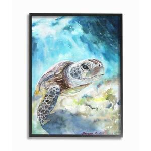 16 in. x 20 in. ''Sea Turtle Ocean Blue'' by George Dyachenko Framed Wall Art