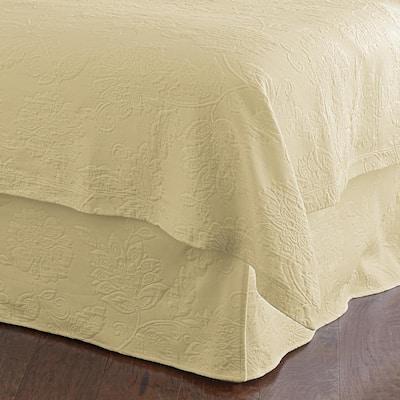 Putnam Matelasse 14 in. Wheat Cotton King Bed Skirt