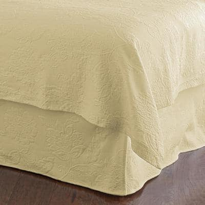Putnam Matelasse 14 in. Wheat Cotton Twin Bed Skirt