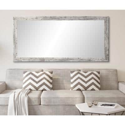 Oversized White/Gray Farmhouse Cottage Rustic Mirror (71 in. H X 32 in. W)
