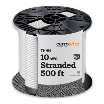 500 ft. 10 Gauge White Stranded CU THHN Wire