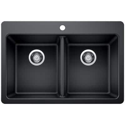 Drop-in/Undermount Granite Composite 33 in. 1-Hole 50/50 Double Bowl Kitchen Sink with Low Divide in Black