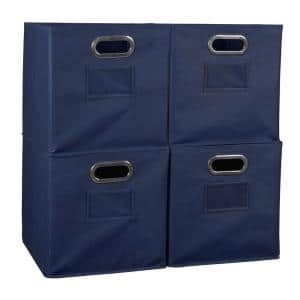 Cheer 12 in. D x  12 in. W x 12 in. H Blue Folding Fabric Bin (4-Pack)