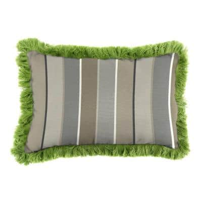 Sunbrella 19 in. x 12 in. Milano Charcoal Lumbar Outdoor Throw Pillow with Gingko Fringe