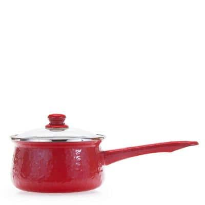 Solid Red 1.25 qt. Porcelain-Coated Steel Sauce Pan in Sea Glass with Glass Lid