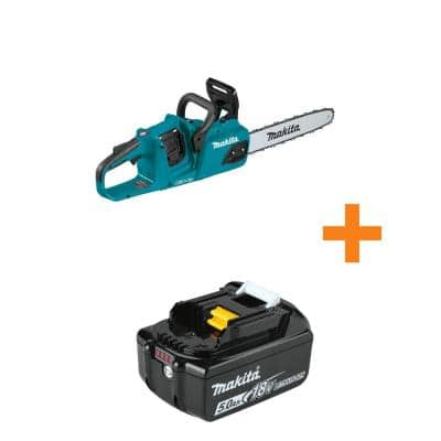 18V X2 (36V) LXT Lithium-Ion Brushless Cordless 14 in. Chain Saw, Tool Only with Bonus 18V LXT Lithium-Ion 5.0Ah Battery