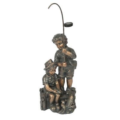 Children Fishing Garden Statue