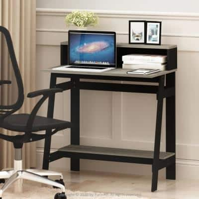 32 in. Rectangular Oak Gary/Black Computer Desk with Hutch