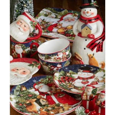 72 oz. Magic Of Christmas Santa Multicolored Earthenware Cookie Jar