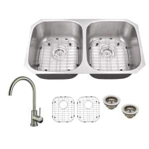 All-In-One Undermount 18-Gauge Stainless Steel 32-1/4 in. 0-Hole 50/50 Double Bowl Kitchen Sink with Gooseneck Faucet