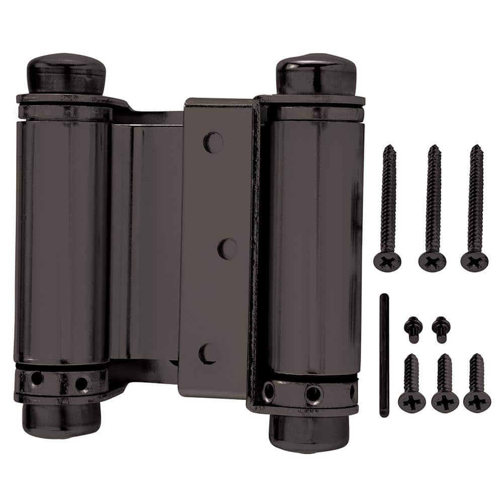 Everbilt 10 in. Square Oil Rubbed Bronze Double Action Spring Door  Hinge 10   The Home Depot