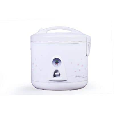 10-Cup White Rice Cooker with Food Steamer Basket