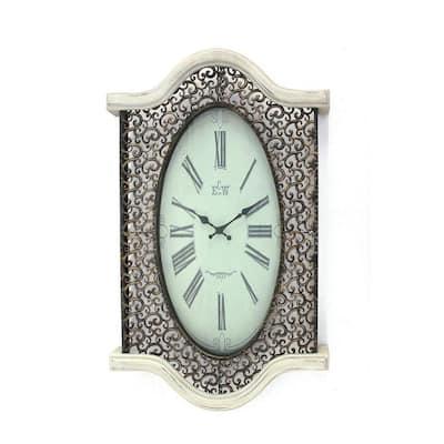White Wash Vintage Look Wall Clock