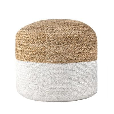 Janis Braided Jute Filled Ottoman Natural Round Pouf