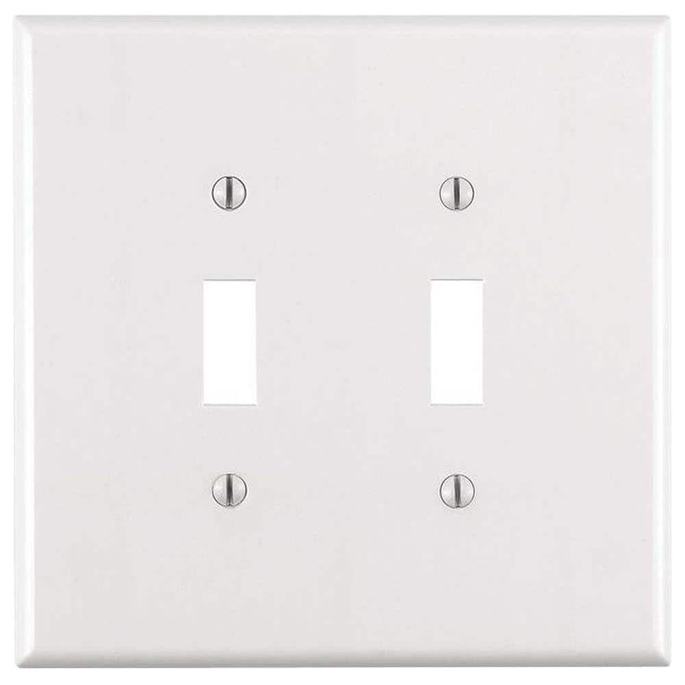 Leviton White 2 Gang Toggle Wall Plate 1 Pack R52 88109 00w The Home Depot