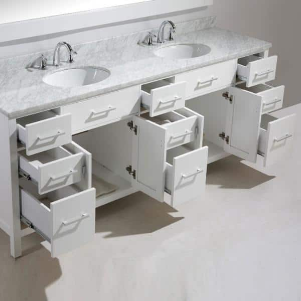 Design Element London 84 In W X 22 In D X 35 In H Vanity In White With Marble Vanity Top In Carrara White Basin Dec076 84 W The Home Depot