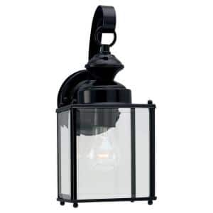 Jamestowne Collection 1-Light Outdoor Black Wall Lantern Sconce