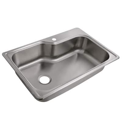 Drop-in Stainless Steel 33 in. 18 Gauge 1-Hole Single Bowl Kitchen Sink