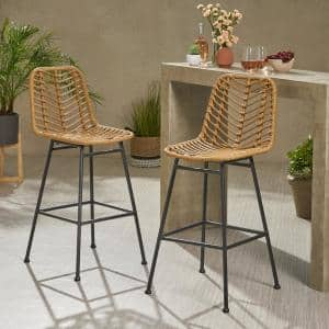 Sawtelle Stackable Wicker Outdoor Bar Stool (2-Pack)