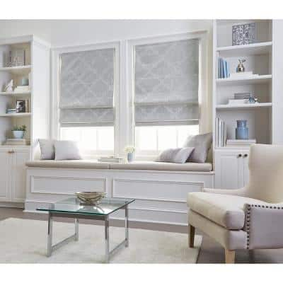 Cut-to-Size Silver Cordless Room Darkening Energy-Efficient Polyester Roman Shades 27 in. W x 64 in. L