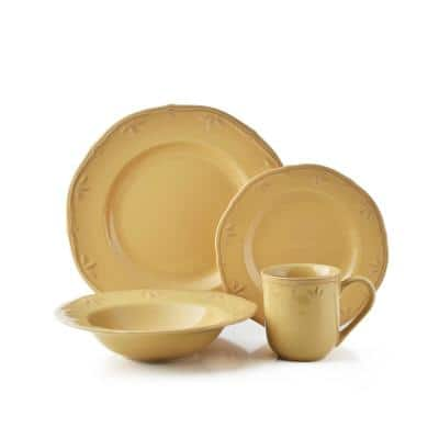 Sicily 16-Piece Casual Caramel Ceramic Dinnerware Set (Service for 4)