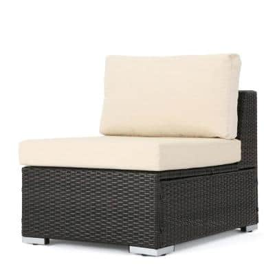 Nolan Multi Brown Wicker Armless Middle Outdoor Sectional Chair with Beige Cushion