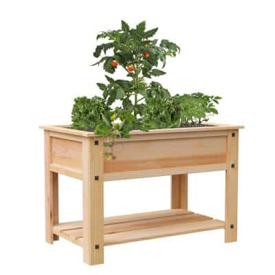 Mission Western Cedar Elevated Garden Planter with Liner