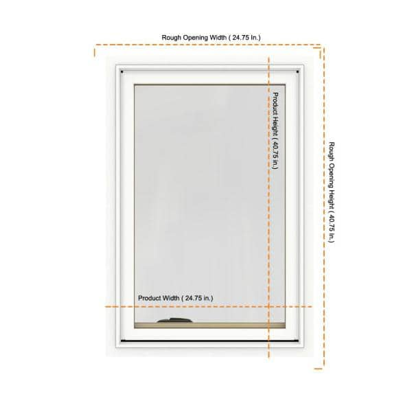 Jeld Wen 24 75 In X 40 75 In W 2500 Series White Painted Clad Wood Right Handed Casement Window With Bettervue Mesh Screen Thdjw140100028 The Home Depot