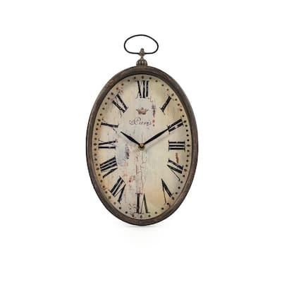 Tall Oval Roman Numeral Paris Clock