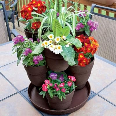 13 in. 3-Tier Resin Flower and Herb Vertical Gardening Planter in Brown