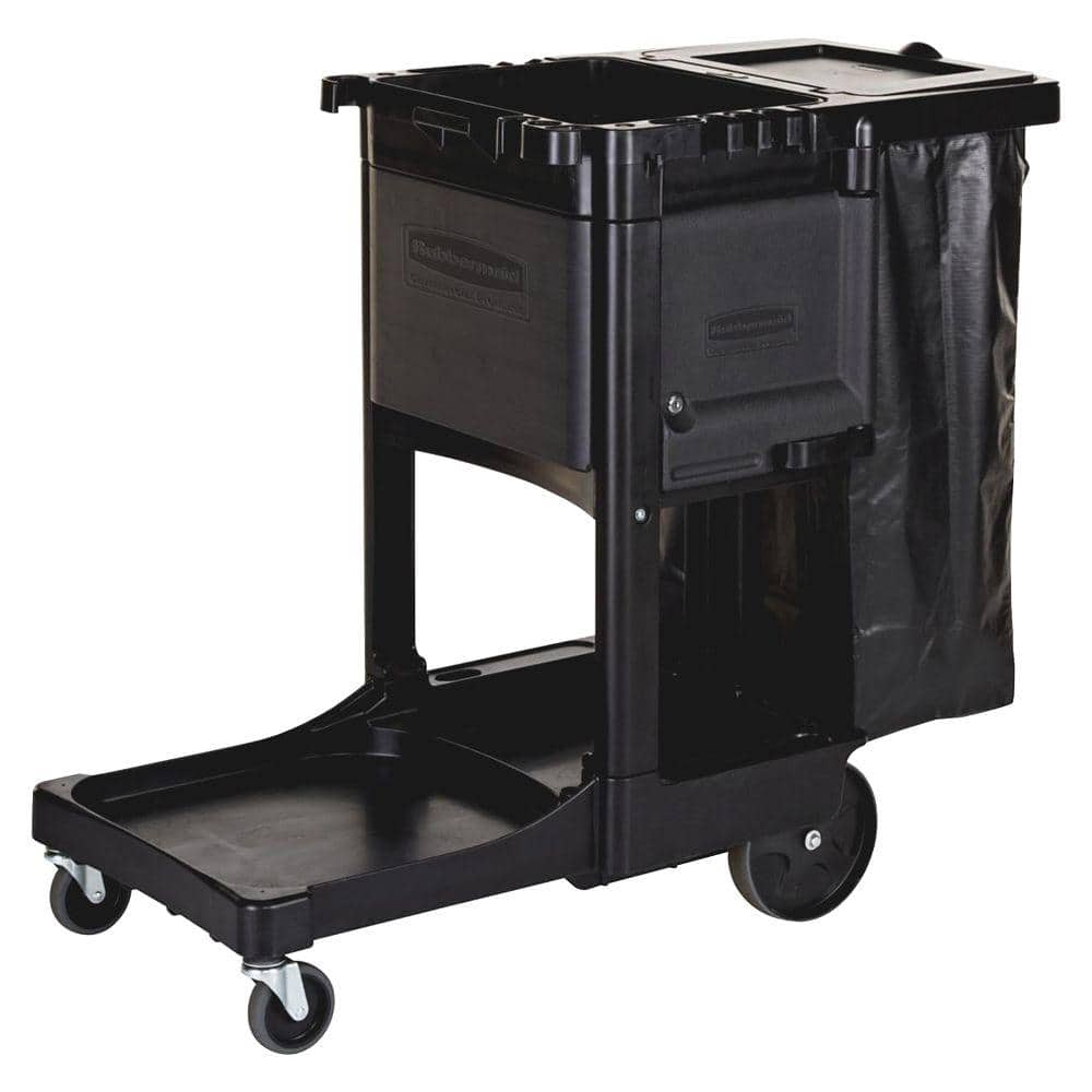 Rubbermaid 21 8 In X 46 In X 38 In Executive Janitor Cleaning Cart Rcp1861430 The Home Depot