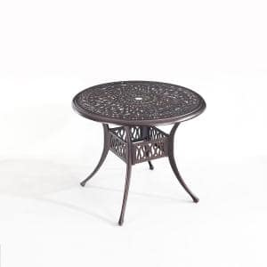 Bronze 35 in. Round Cast Aluminum Outdoor Patio Dining Table Umbrella Hole