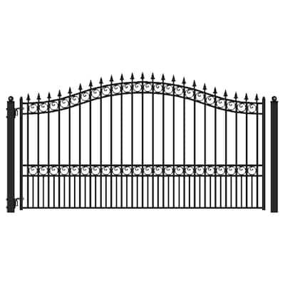 London Style 18 ft. x 6 ft. Black Steel Single Swing Driveway Fence Gate