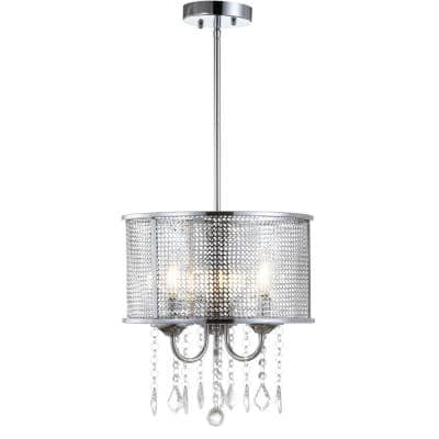 Avah 13 in. 3-Light Chrome LED Drop Pendant with Adjustable Metal/Crystal