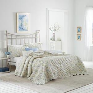Fawna 3-Piece Blue Floral Cotton King Quilt Set