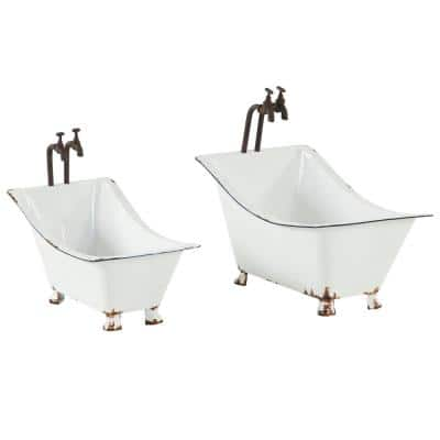 Farmhouse Style 20.5 in. x 19 in., 10.5 in. x 15.5 in. White Metal Clawfoot Tub Planter (Set of 2)