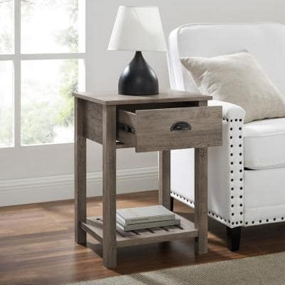 Grey Wash Country One-Drawer Side Table
